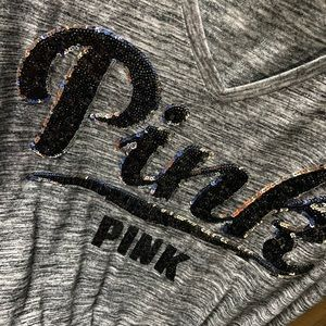 PINK sequin logo v-neck tee
